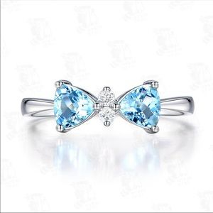 Jewelry - Blue Bow knot Silver Women Ring